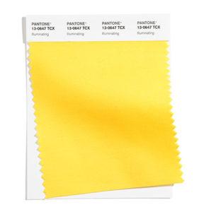 PANTONE 13-0647 Illuminating 明亮黃:友善、愉悅又樂觀的黃色調,許諾著陽光的一天。