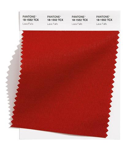 PANTONE 18-1552 Lava Falls 熔岩流紅:這個熾熱熔化的紅色噴發出一種泉湧的能量